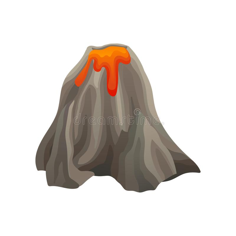 Flat vector icon of large volcano with lights and shadows. Mountain with crater and hot flowing lava. Element of. Cartoon icon of large volcano with lights and stock illustration