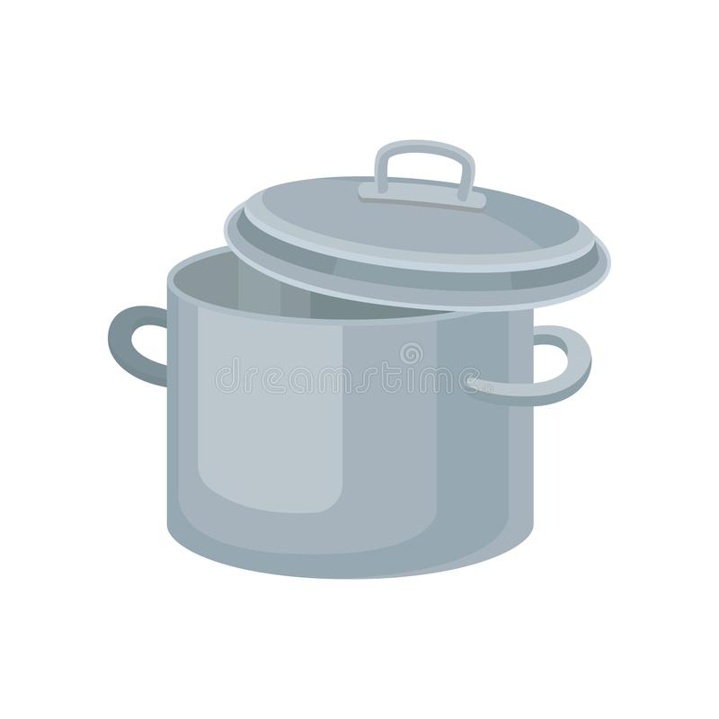 Flat vector icon of metal saucepan for cooking food. Stainless pot with two handles and lid. Kitchenware theme stock illustration