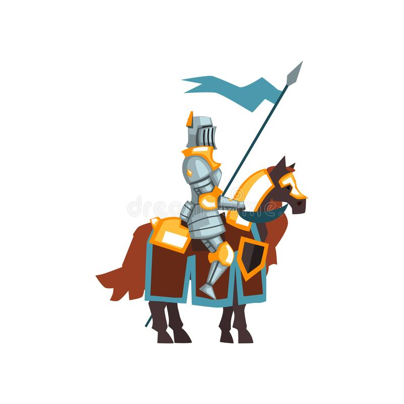 Flat vector icon of middle ages knight sitting on horseback and holding blue flag in hand. Guardian of the kingdom vector illustration