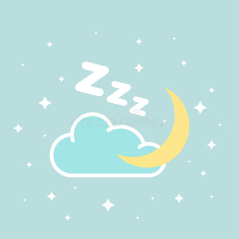 Flat vector icon with moon and stars. Kids bedroom vector illustration