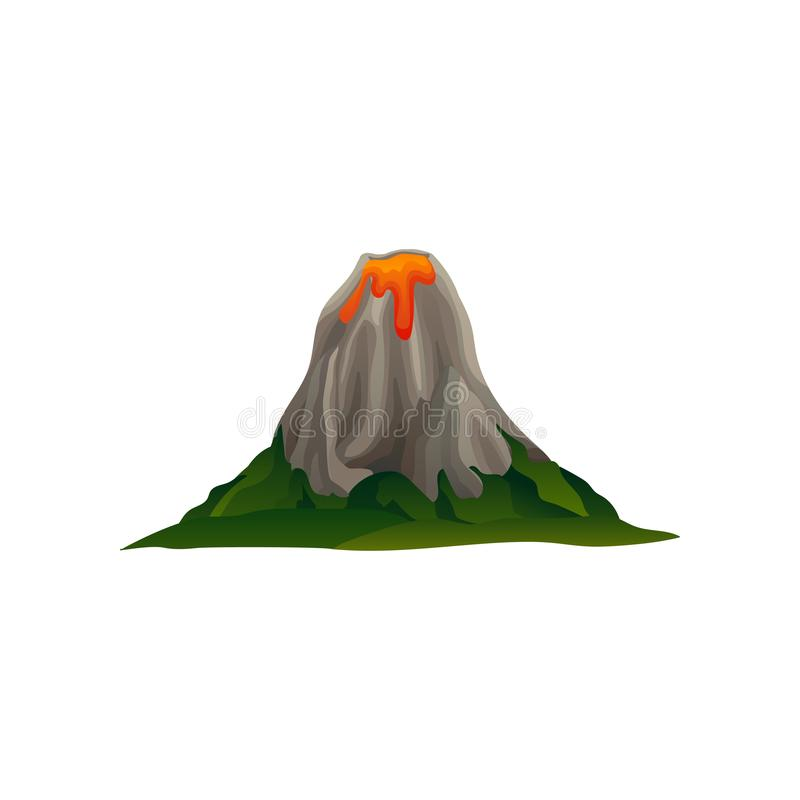 Flat vector icon of mountain with crater and flowing lava. Llarge volcano surrounded with green meadow. Landscape design. Mountain with crater and flowing lava stock illustration