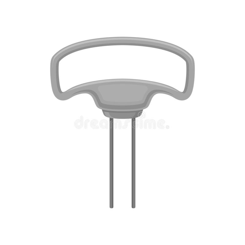 Free Flat Vector Icon Of Corkscrew - Butlers Friend. Steel Opener With Gray Handle. Two-prong Cork Puller. Kitchen Tool Stock Photos - 138727053