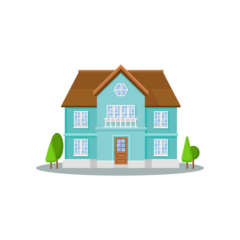 Free Flat Vector Icon Of Three-storey House With Big Windows, Wooden Door And Roof. Exterior Of Residential Cottage. Modern Royalty Free Stock Photos - 116340488
