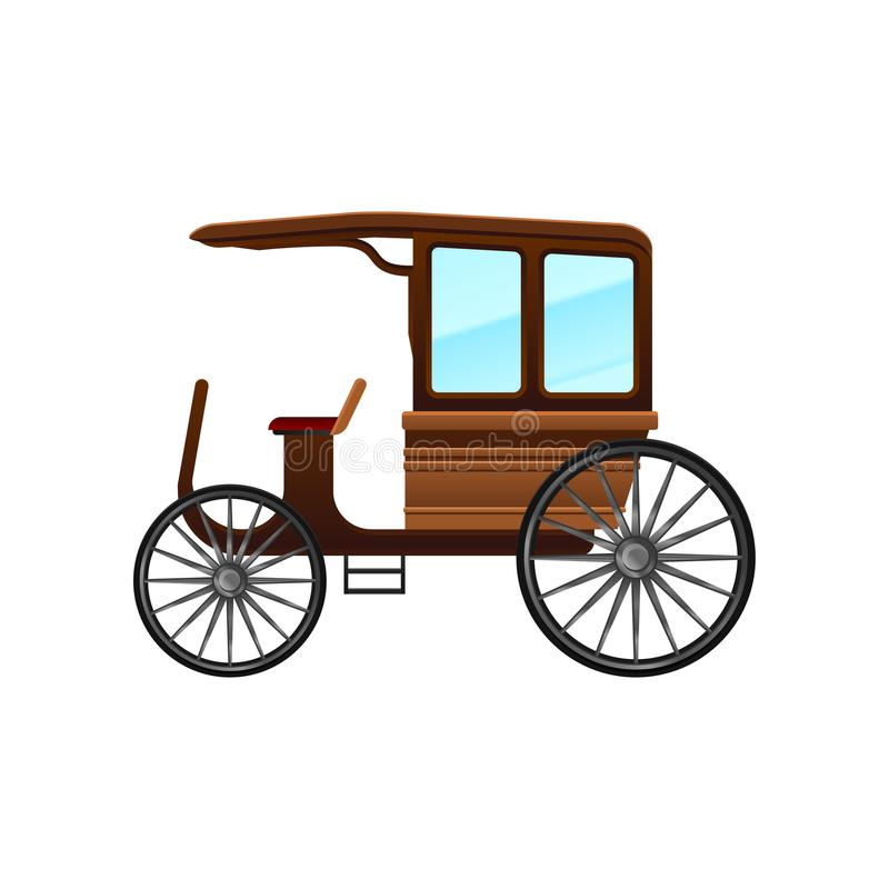 Flat vector icon of old carriage with wooden cab and big wheels. Vintage passengers transport vector illustration