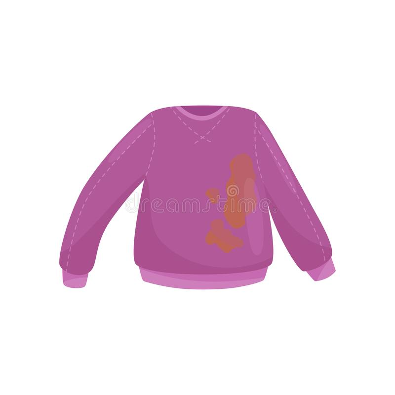 Flat vector icon of purple woolen sweater with big brown stains. Dirty clothes for washing. Illustration of purple woolen sweater with big brown coffee stains vector illustration