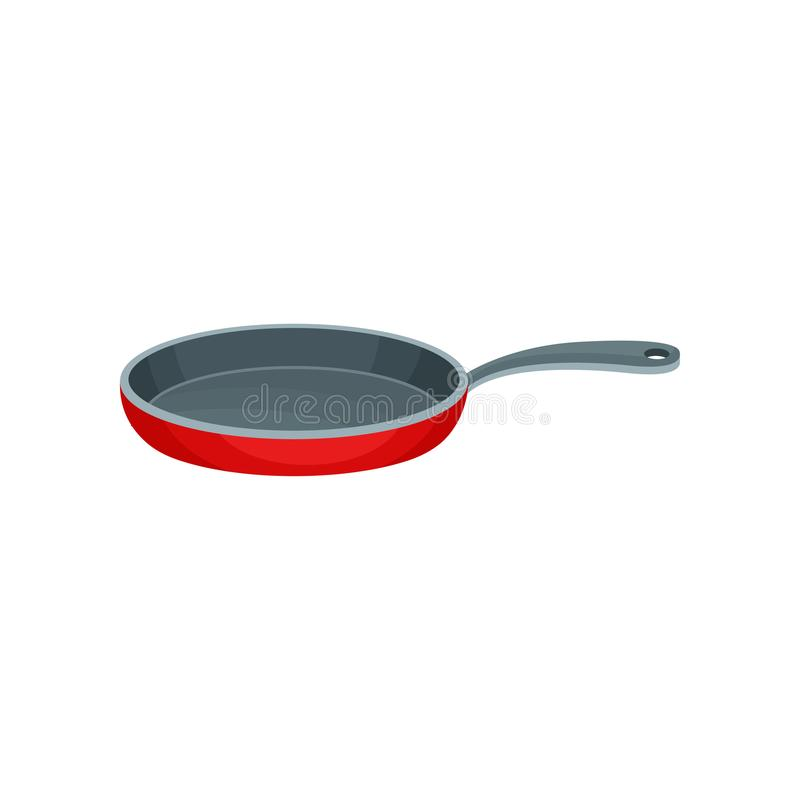 Flat vector icon of red metal frying pan with gray handle. Stainless container used for cooking food. Kitchenware theme. Colorful illustration of red metal stock illustration