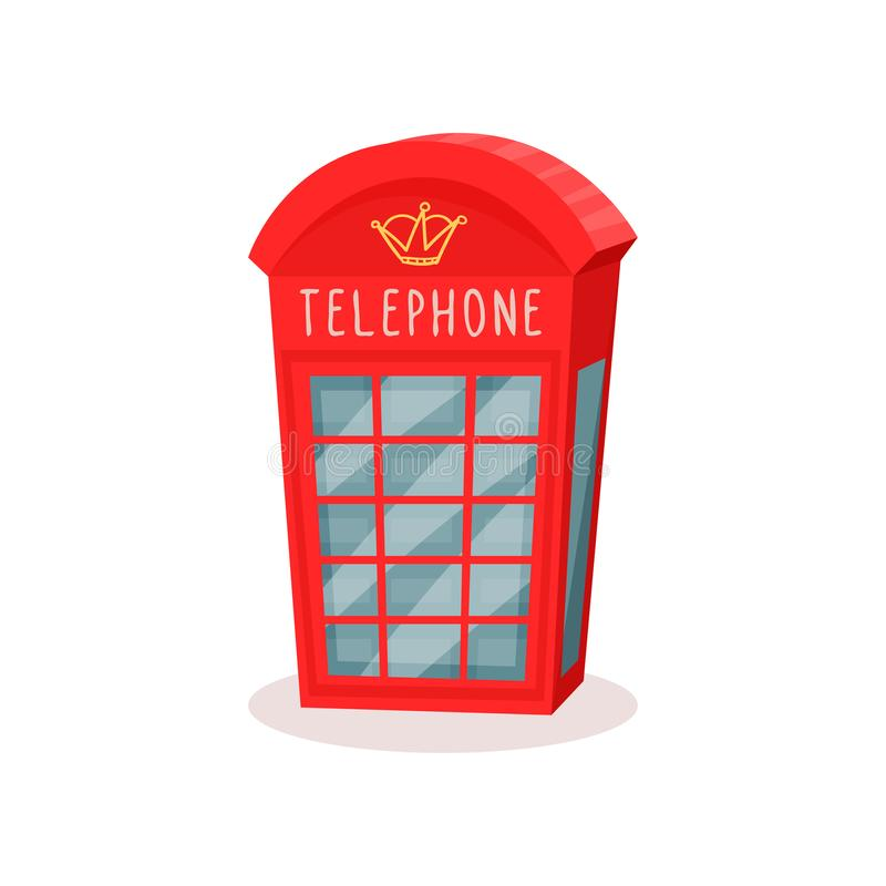 Flat vector icon of red telephone booth. Famous symbol of England. Travel to London. Public call box stock illustration