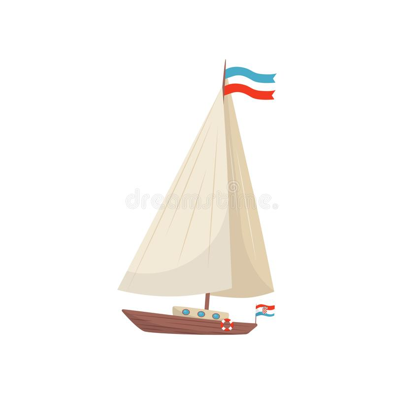 Flat vector icon of sailing yacht with flag of Croatia and lifebuoy. Marine vessel. Wooden boat with sail royalty free illustration