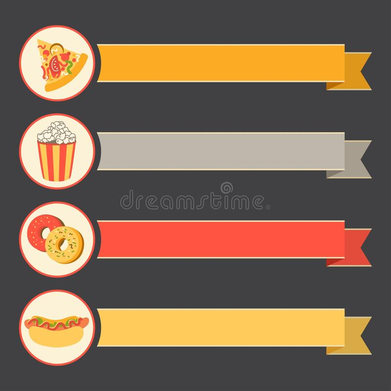 Flat vector icon set fast food with vintage ribbons. Vector icon set fast food with vintage ribbons. flat design royalty free illustration