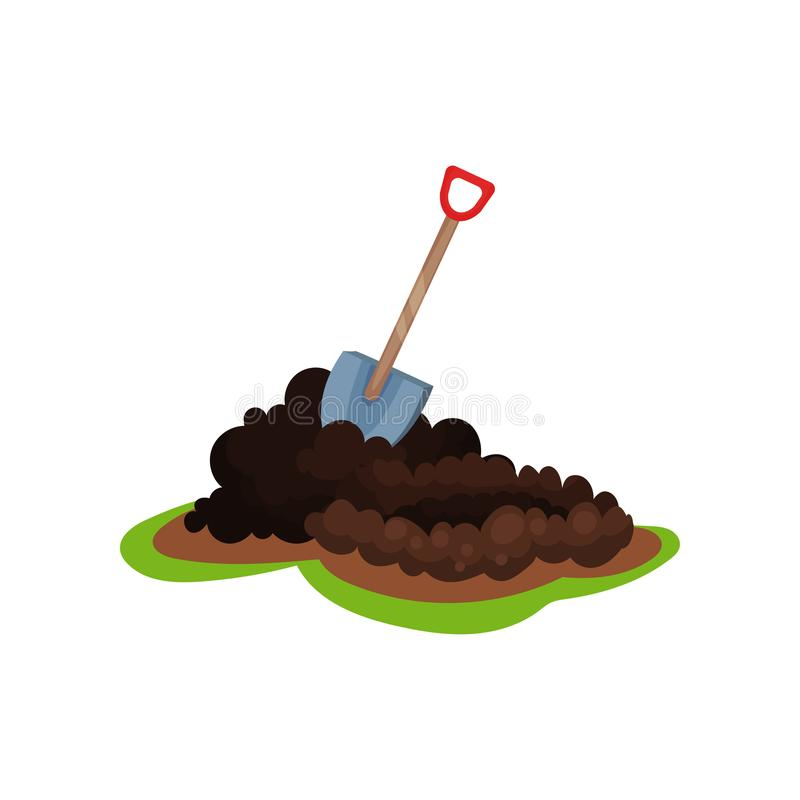 Flat vector icon of shovel in pile of ground. Hole for planting seed. Garden spade. Gardening and cultivation theme. Cartoon illustration of shovel in pile of royalty free illustration