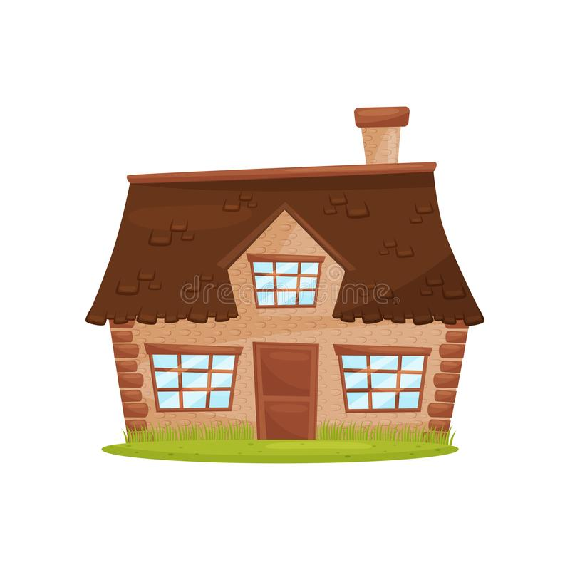 Flat vector icon of small farm house. Cute countryside architecture. Green lawn in front of building royalty free illustration