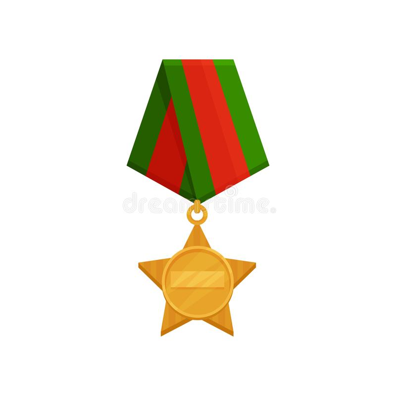 Flat vector icon of star-shaped medal with bright red-green ribbon. Golden order. Honorary military award royalty free illustration