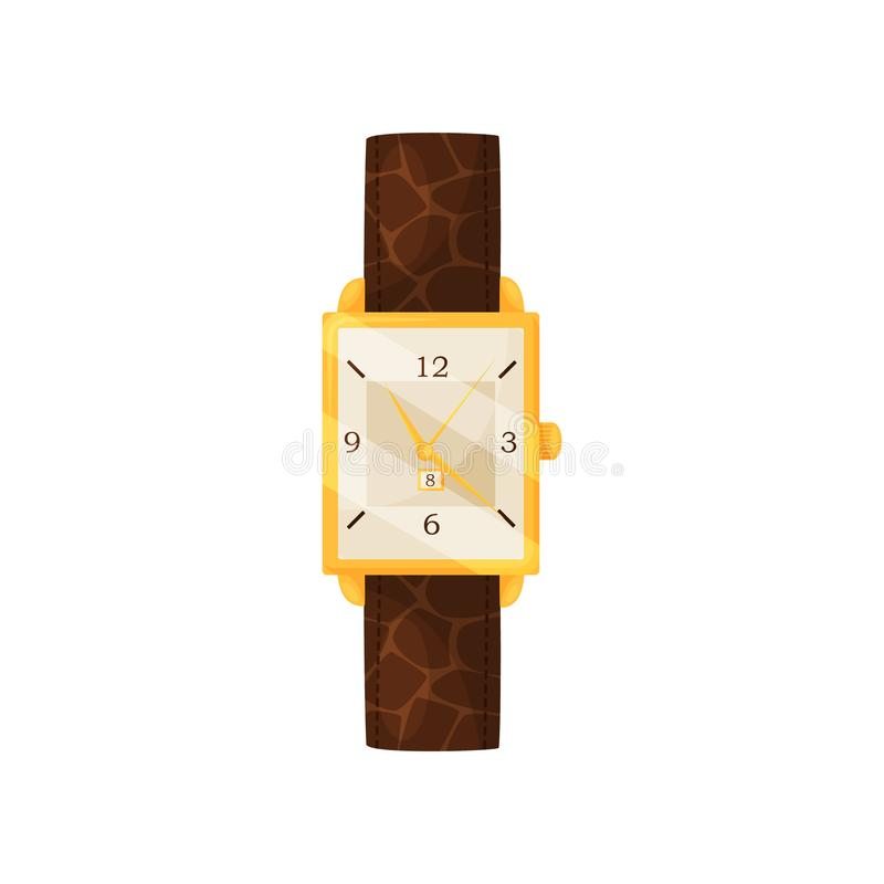 Flat vector icon of stylish women wrist watch with leather strap and golden frame. Elegant female accessory vector illustration