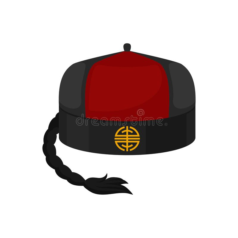 Flat vector icon of traditional red-black mandarin or landlord hat with pigtail. National Chinese male cap. Icon of traditional red-black mandarin or landlord royalty free illustration