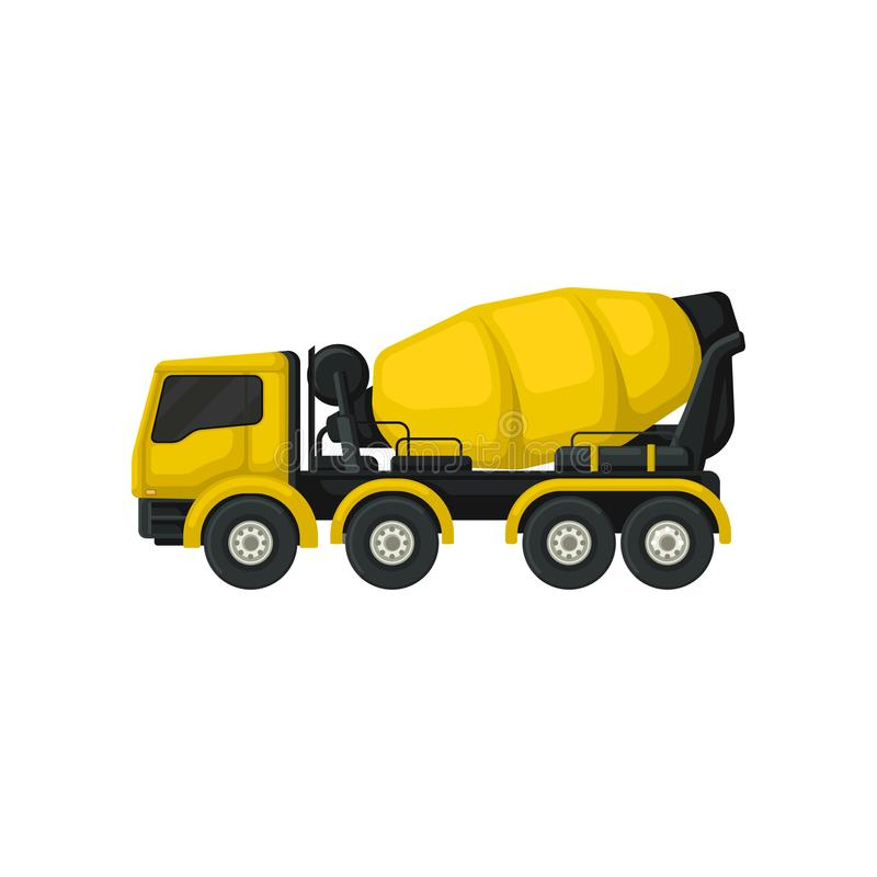 Flat vector icon of yellow concrete mixing truck. Large vehicle with rotating container. Machine using in construction royalty free illustration