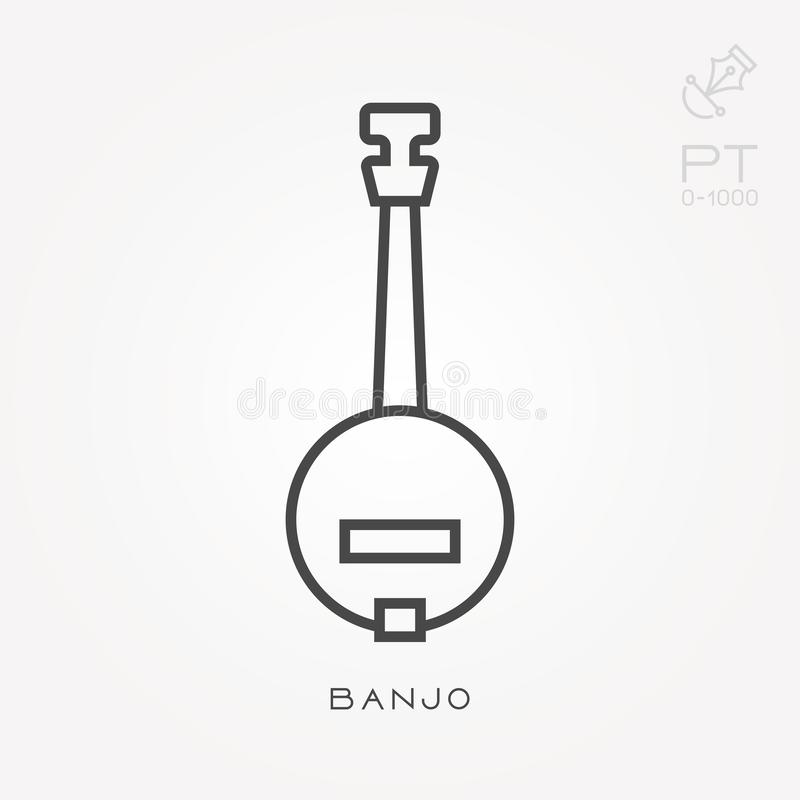 Flat vector icons with banjo vector illustration