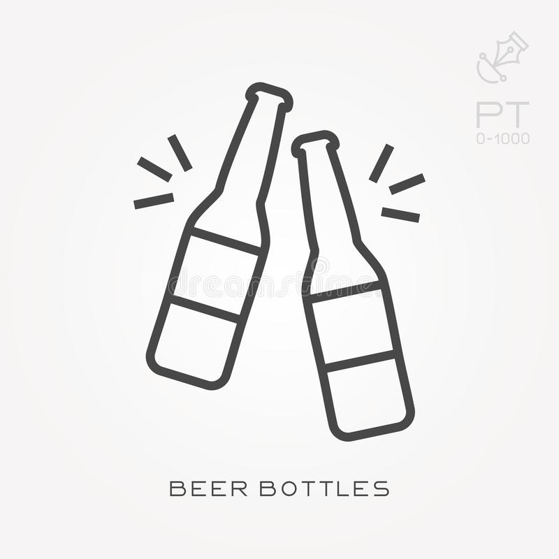 Flat vector icons with beer bottles stock illustration