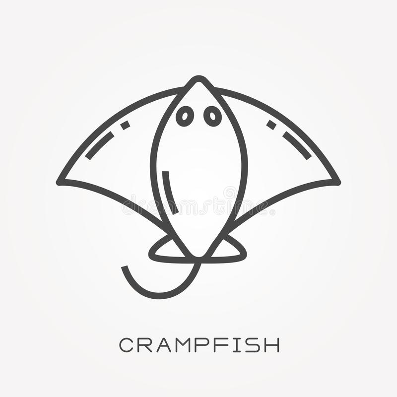 Flat vector icons with crampfish. With the ability to change the line thickness stock illustration