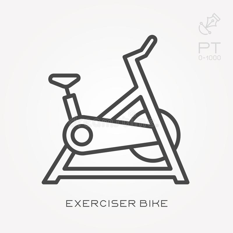 Flat vector icons with exerciser bike. With the ability to change the line thickness stock illustration