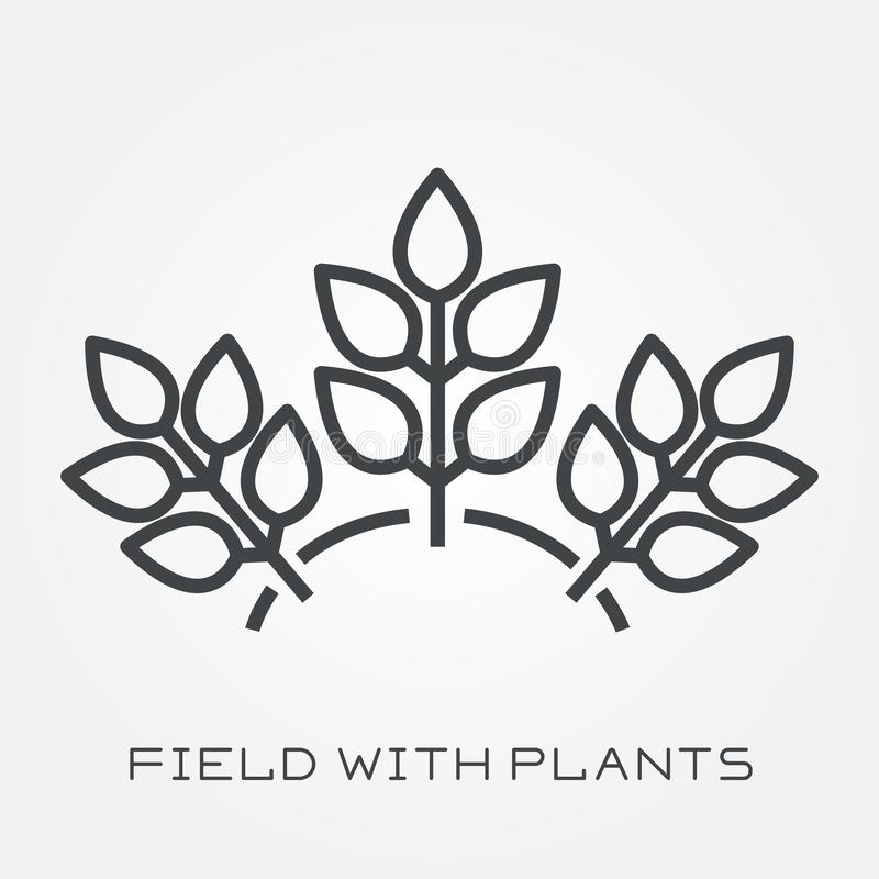 Flat vector icons with field with plants royalty free illustration