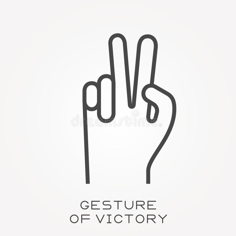 Flat vector icons with gesture of victory vector illustration