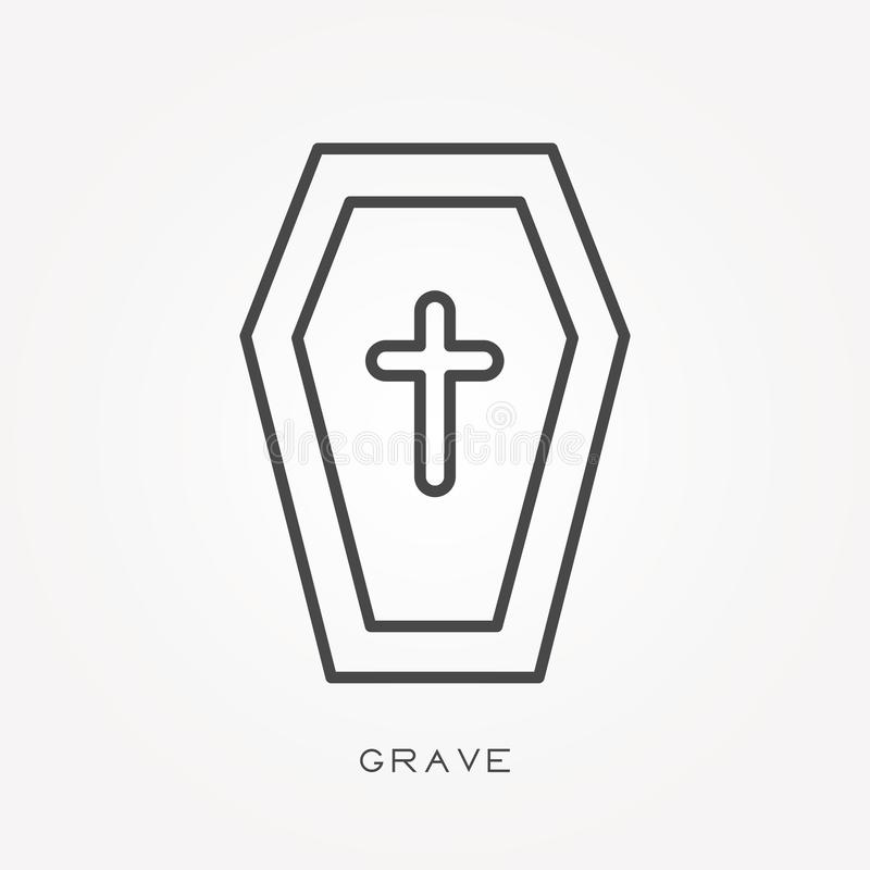 Flat vector icons with grave. vector illustration