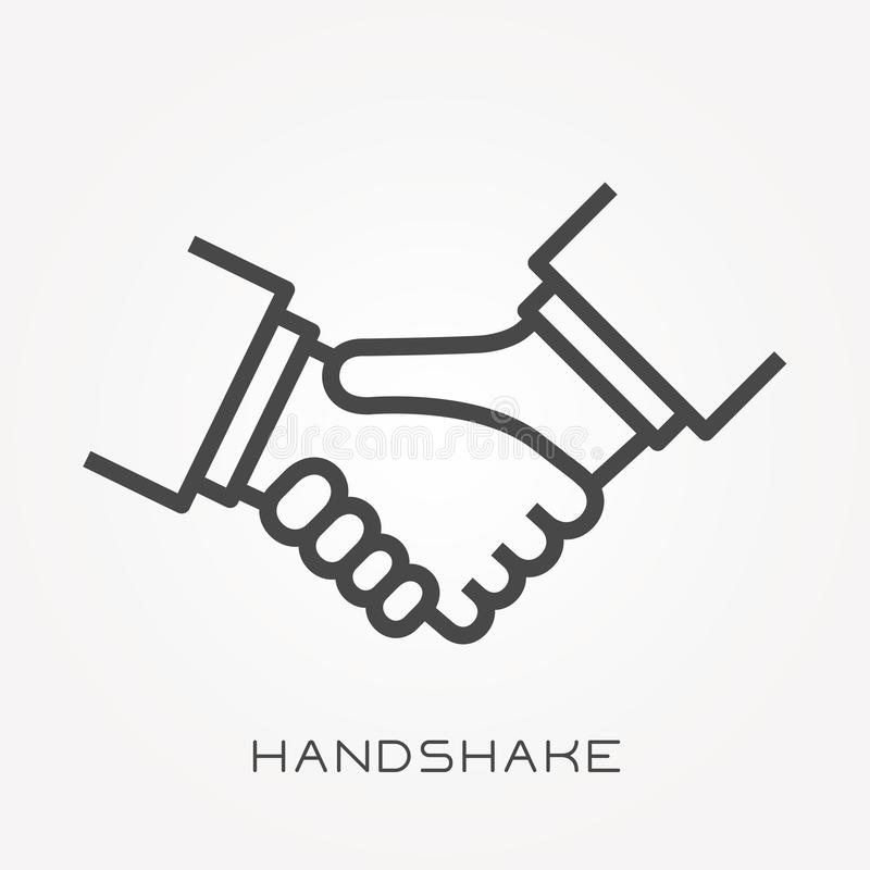 Flat vector icons with handshake. With the ability to change the line thickness stock illustration