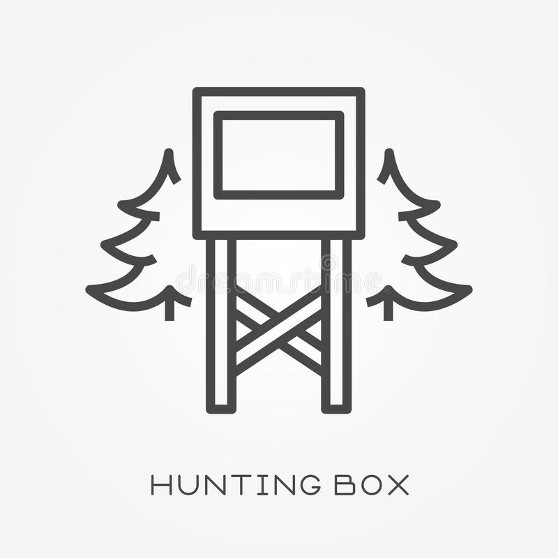 Flat vector icons with hunting box royalty free illustration