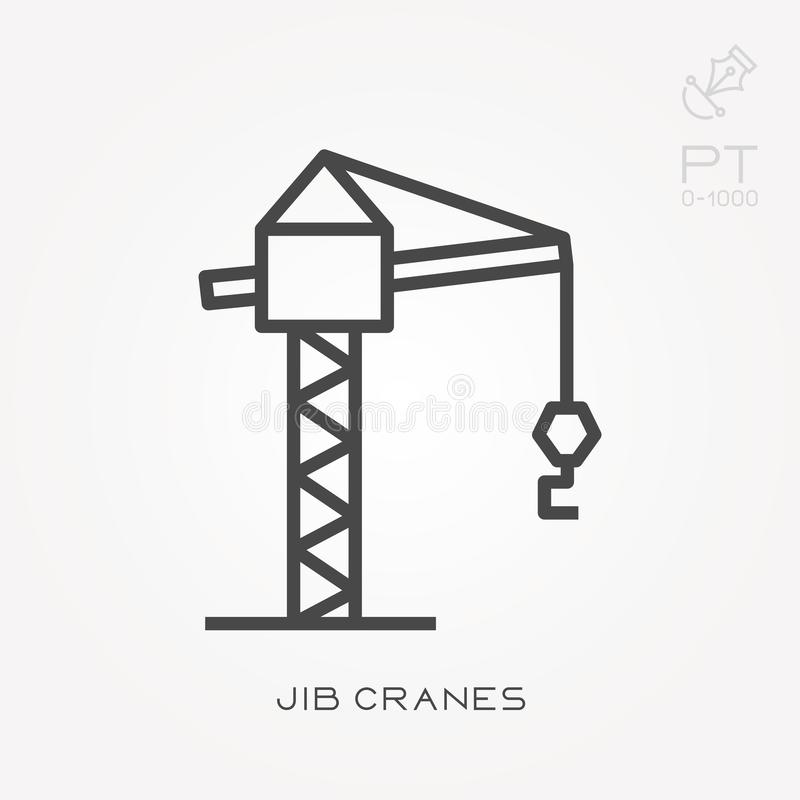 Flat vector icons with jib cranes royalty free illustration