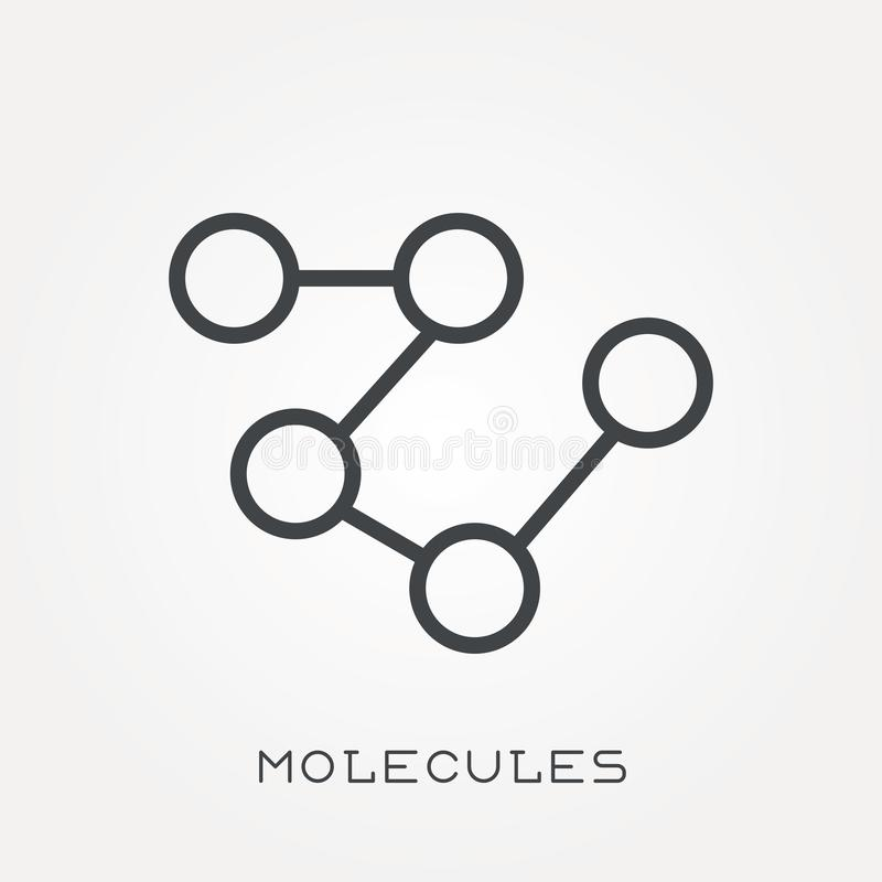 Flat vector icons with molecules stock illustration