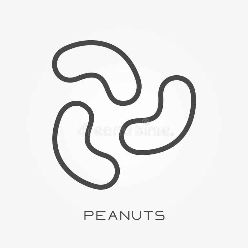 Flat vector icons with peanuts. With the ability to change the line thickness vector illustration