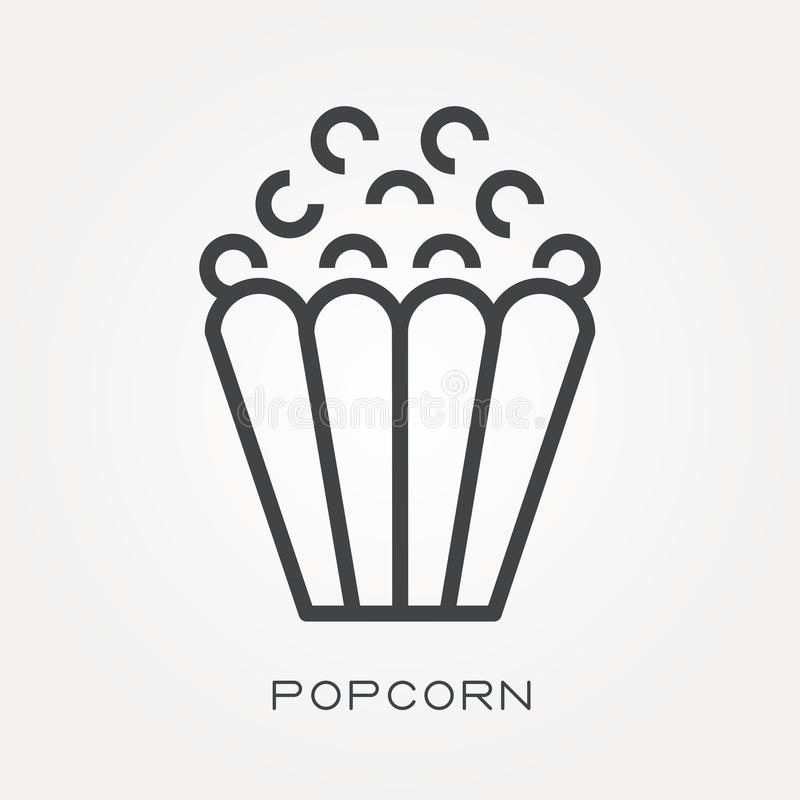 Flat vector icons with popcorn vector illustration