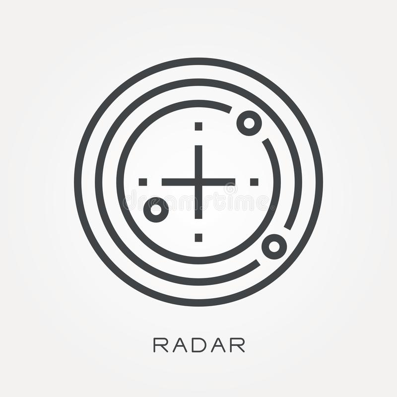 Flat vector icons with radar. With the ability to change the line thickness stock illustration