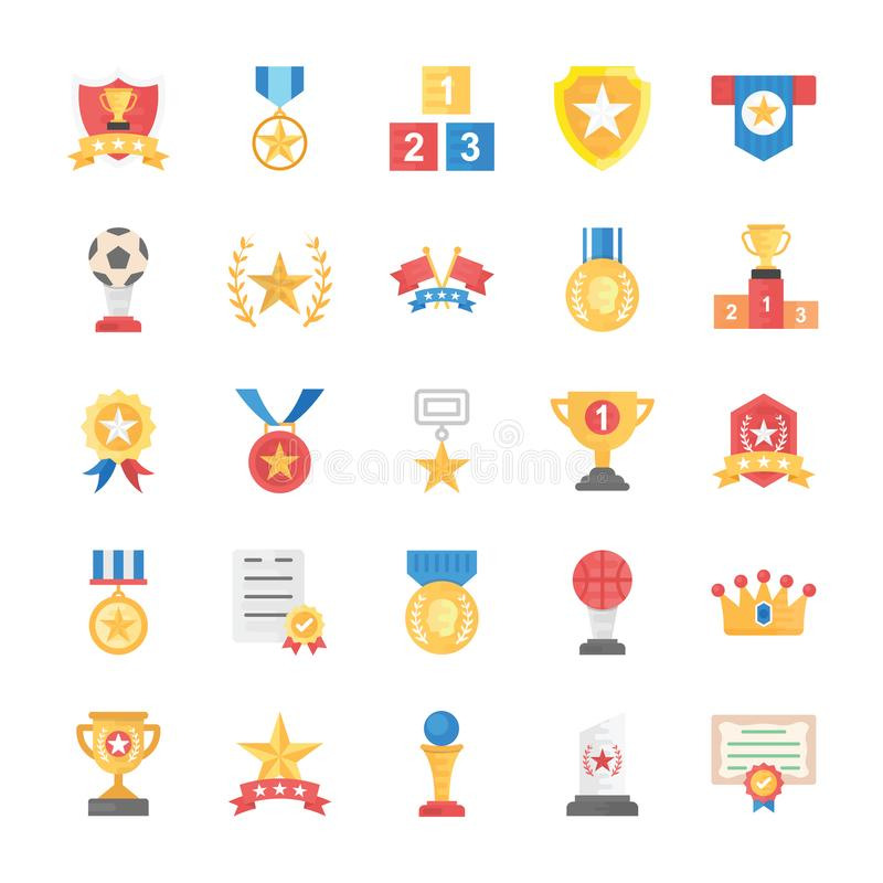 Flat Vector Icons of Rewards and Medals. This flat icons set has handsome collection of appreciation badges, certificates and rewards which can help you get royalty free illustration