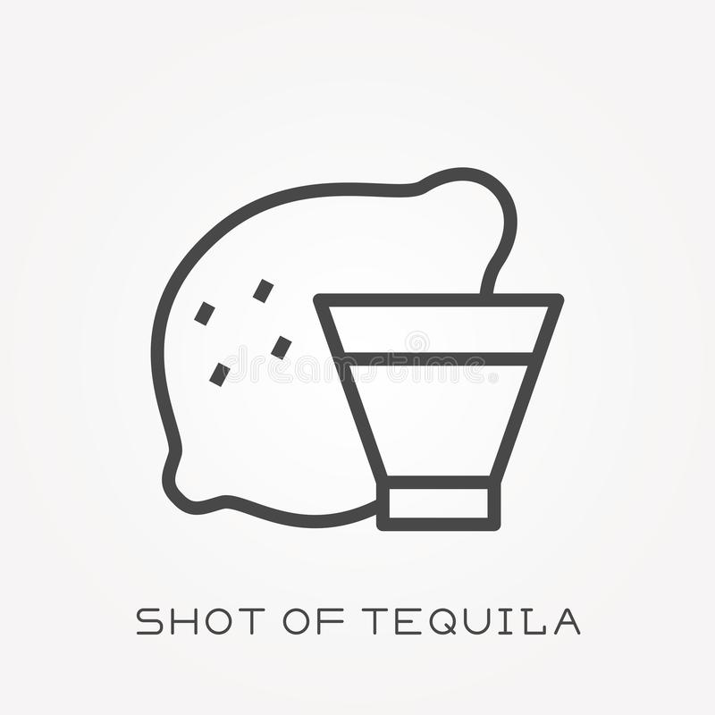 Flat vector icons with shot of tequila vector illustration