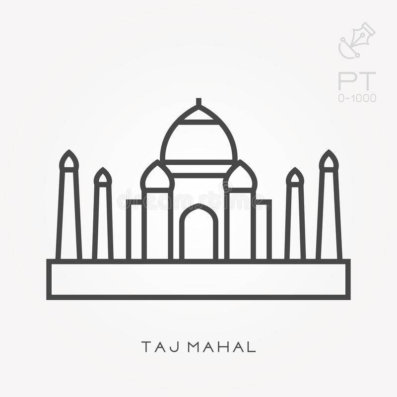 Flat vector icons with Taj Mahal royalty free illustration