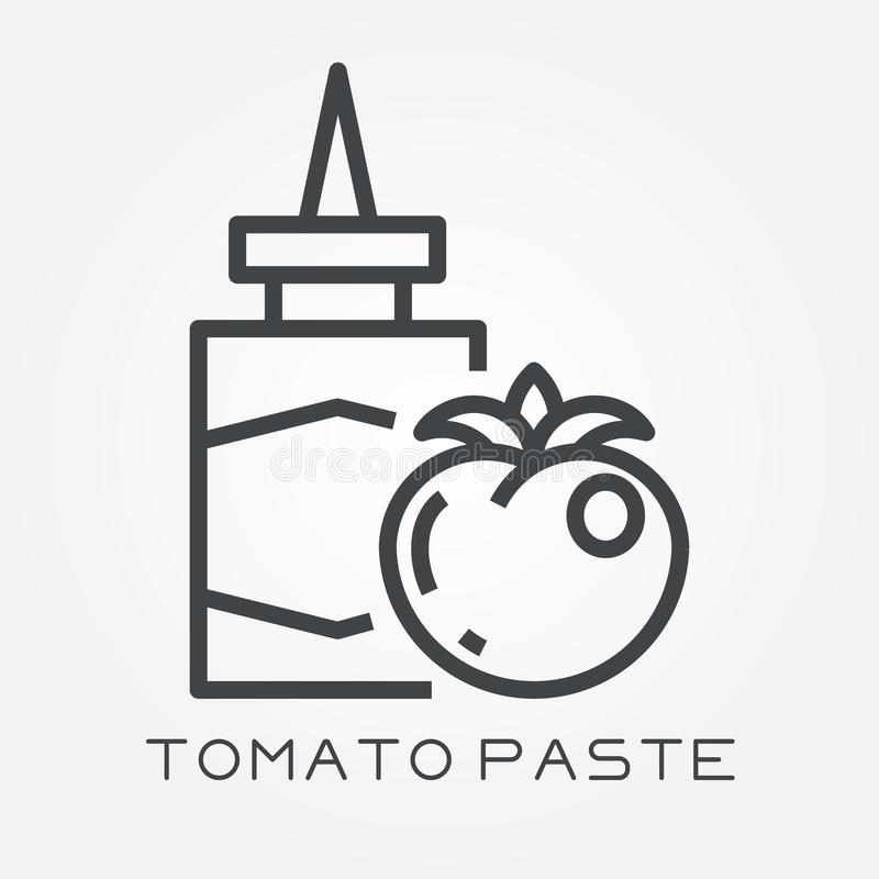 Flat vector icons with tomato paste stock illustration