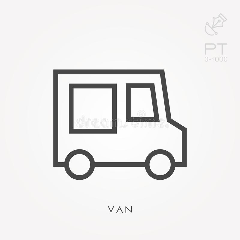 Flat vector icons with van. Line icon van. With the ability to change the line thickness vector illustration