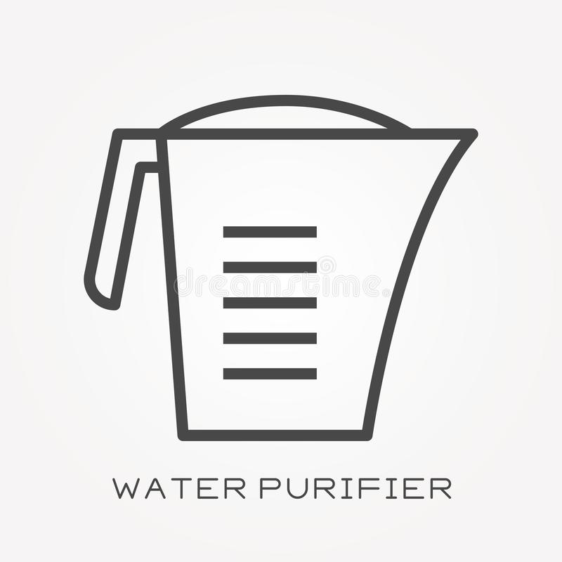 Flat vector icons with water purifier vector illustration