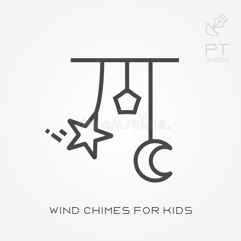 Flat vector icons with wind chimes for kids stock illustration
