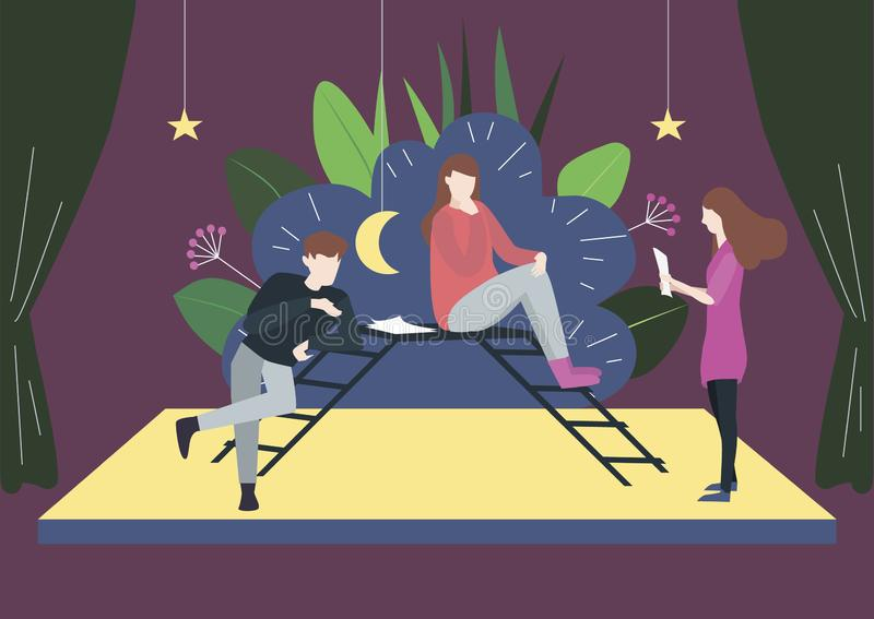 People in drama theater rehearse their roles on a stage. Flat vector illustration of artists who teach roles in the drama theater. Man and woman sit on stairs royalty free illustration
