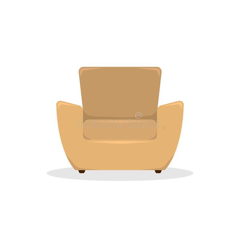 Flat vector illustration. Beige leather armchair in retro style vector illustration