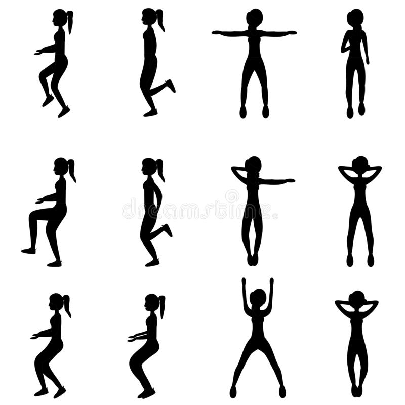 Set of young girls doing exercises in the gym. Beautiful fit woman doing exercises for body warming. stock illustration