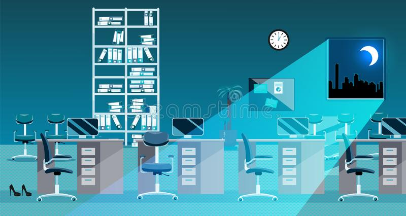 Flat vector illustration of classic office room interior at night. Open space without people. Order on tables, document folders, stock illustration