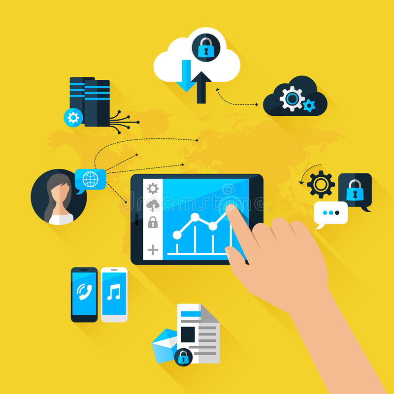 Flat vector illustration concept mobile devices stock illustration
