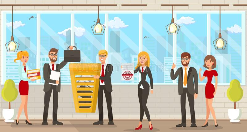 Vector Illustration Coworking Space for Lawyers. Flat Vector Illustration Coworking Space for Lawyers. Young Happy Men and Women in Modern Business Suits in stock illustration