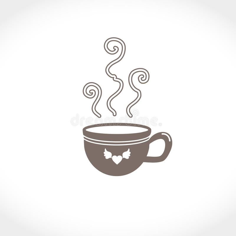 Flat vector illustration of a cup with a hot drink. An invigorating and warming coffee or tea. royalty free stock photos