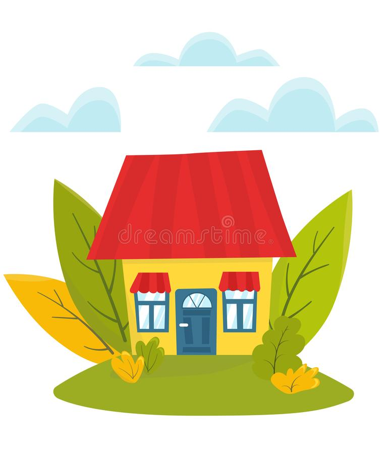 Flat vector illustration, cute house with big green leaves. Eco royalty free illustration