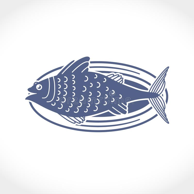 Flat vector illustration of a fish on a dish. stock photos
