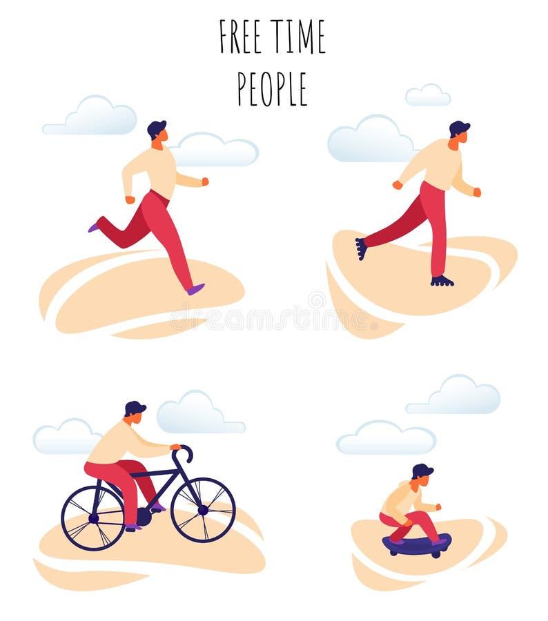 Flat Vector Illustration Free Time Happy People. stock illustration
